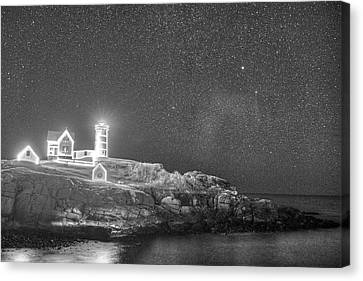 Starry Sky Of The Nubble Light In York Me Cape Neddick Black And White Canvas Print