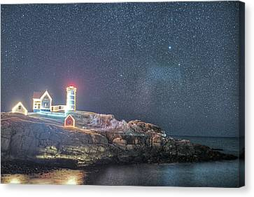 Nubble Lighthouse Canvas Print - Starry Sky Of The Nubble Light In York Me Cape Neddick by Toby McGuire