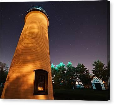 Starry Sky Over The Newburyport Harbor Light Closeup Canvas Print by Toby McGuire