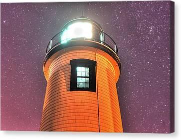 Starry Sky Over The Newburyport Harbor Light Window 2 Canvas Print by Toby McGuire