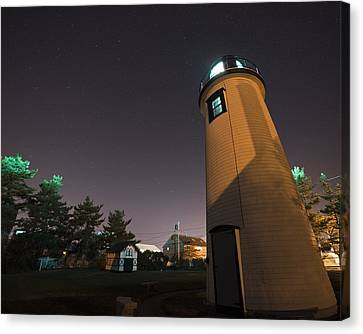 Starry Sky Over The Newburyport Harbor Light Window Canvas Print by Toby McGuire