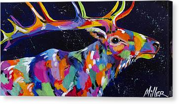 Starry Starry Elk Canvas Print by Tracy Miller