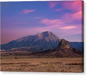 Canvas Print featuring the photograph Starry Sunset Over West Spanish Peak by Aaron Spong
