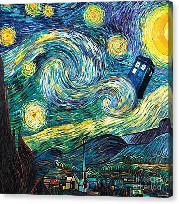 Starry Tardis Art Painting Canvas Print by Vika Chan