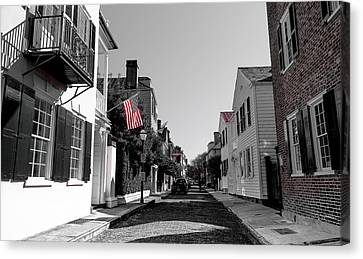 Stars And Stripes- Church St Charleston Sc Canvas Print