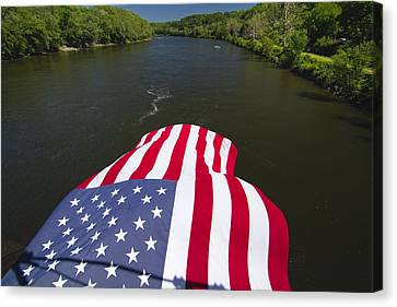 Stars And Stripes Flies Over The Delaware River Canvas Print by George Oze