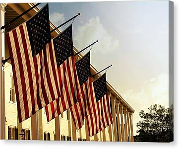 Stars And Stripes Of Congress Hall Hotel Canvas Print by Katie Soper
