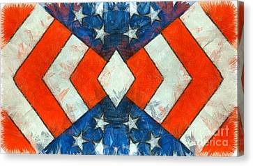 Fourth Canvas Print - Stars And Strips Abstract Pencil by Edward Fielding