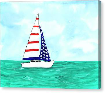 Canvas Print featuring the painting Stars And Strips Sailboat by Darice Machel McGuire
