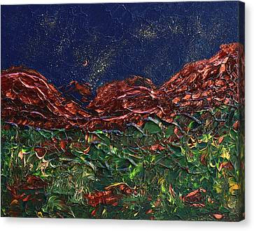 Stars Falling On Copper Moon Canvas Print by Donna Blackhall