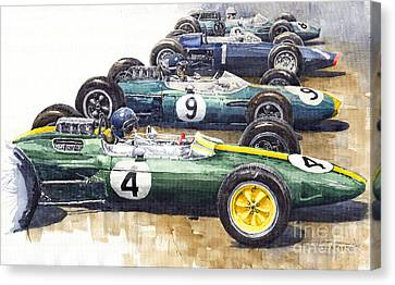 1963 Start British Gp  - Lotus  Brabham  Brm  Brabham Canvas Print by Yuriy  Shevchuk