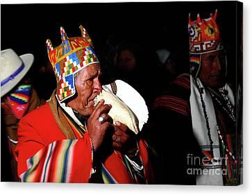 Start Of Aymara New Year Ceremonies Bolivia Canvas Print by James Brunker