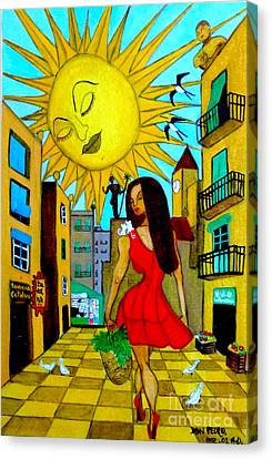 Canvas Print featuring the painting Starting A New Day by Don Pedro De Gracia