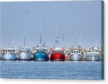 Starting Line -- Lobster Boats In L'etang-du-nord, Quebec, Canada Canvas Print by Darin Volpe