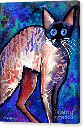 Watercolor Pet Portraits Canvas Print - Startled Cornish Rex Cat by Svetlana Novikova