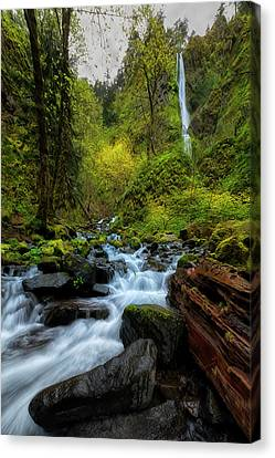 Starvation Creek And Falls Canvas Print by Ryan Manuel