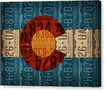 State Flag Of Colorado Recycled License Plate Art Canvas Print by Design Turnpike