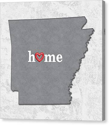 Arkansas Canvas Print - State Map Outline Arkansas With Heart In Home by Elaine Plesser