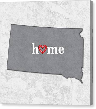 State Map Outline South Dakota With Heart In Home Canvas Print