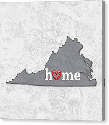 State Map Outline Virginia With Heart In Home Canvas Print by Elaine Plesser