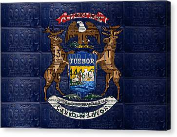 State Of Michigan Flag Recycled Vintage License Plate Art Version 1 Canvas Print by Design Turnpike