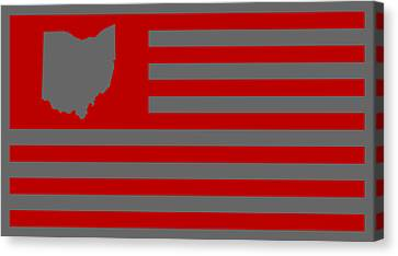 State Of Ohio - American Flag Canvas Print by War Is Hell Store