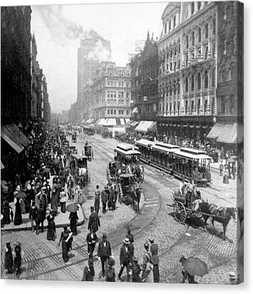 State Street - Chicago Illinois - C 1893 Canvas Print by International  Images