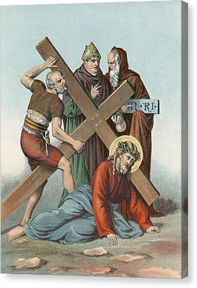 Religious Canvas Print - Station Ix Jesus Falls Under The Cross The Third Time by English School