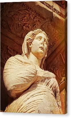 Statue At The Library Of Celsus Canvas Print by HD Connelly