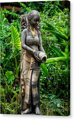 Statue In The Garden Canvas Print by Adrian Evans