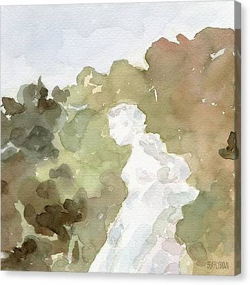 Brown Tones Canvas Print - Statue Of A Woman Watercolor Paintings Of France by Beverly Brown Prints