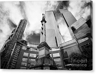 Warner Park Canvas Print - Statue Of Christopher Columbus In Columbus Circle With Time Warner Center Central Park Place And Hea by Joe Fox