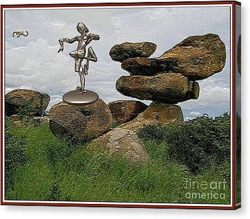 Statue  Of Dancing Zombie 13 Canvas Print by Pemaro