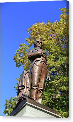 Statue Of Daniel Webster - Central Park # 2 Canvas Print by Allen Beatty