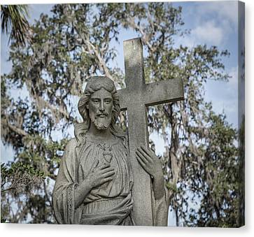 Canvas Print featuring the photograph Statue Of Jesus And Cross by Kim Hojnacki