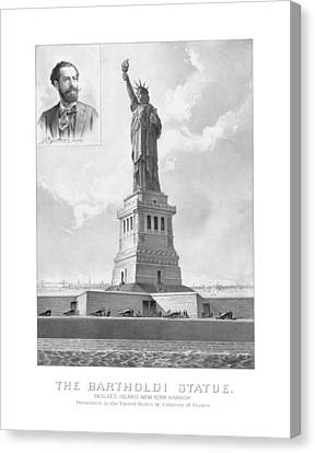 Statue Of Liberty And Bartholdi Portrait Canvas Print by War Is Hell Store