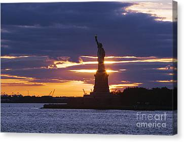Staten Island Ferry Canvas Print - Statue Of Liberty At Sunset by Jeremy Woodhouse