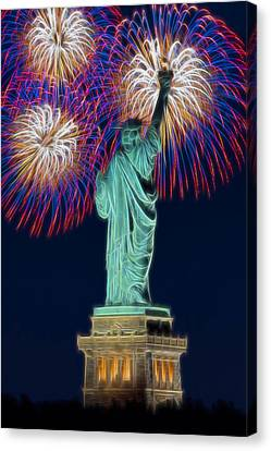 Statue Of Liberty Fireworks Canvas Print by Susan Candelario