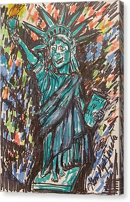 Statue Of Liberty Canvas Print by Geraldine Myszenski