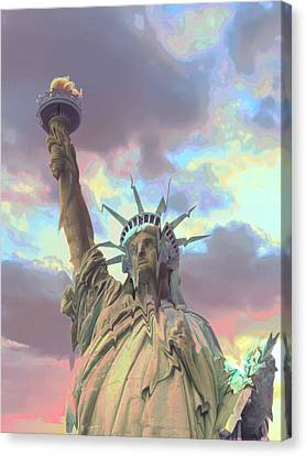 Statue Of Liberty Meltdown Canvas Print by Marcia Socolik