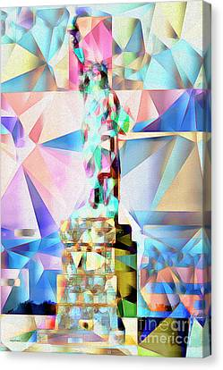 Canvas Print featuring the photograph Statue Of Liberty New York In Abstract Cubism 20170327 by Wingsdomain Art and Photography