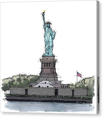 Statue Of Liberty, New York Sketch Canvas Print by Pablo Franchi