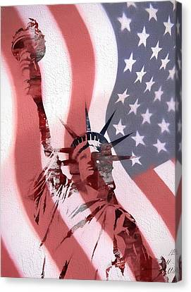 Statue Of Liberty On American Flag Canvas Print by Dan Sproul