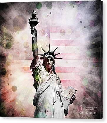 Canvas Print featuring the digital art Statue Of Liberty by Phil Perkins