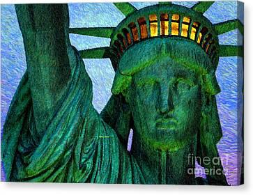 4th July Canvas Print - Statue Of Liberty by Rafael Salazar