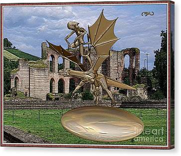 Statue Of Spirit Astride A Dragon Canvas Print by Pemaro