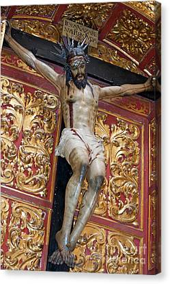 Jesus Christ Icon Canvas Print - Statue Of The Crucifixion Inside The Catedral De Cordoba by Sami Sarkis