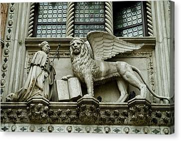 Statue Of Winged Lion Of St Marks Canvas Print