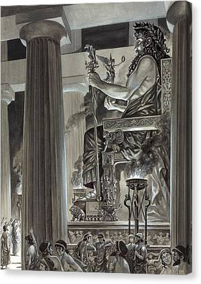 Statue Of Zeus At Olympia Canvas Print by Peter Jackson