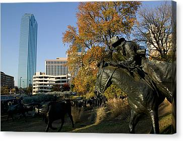 Statues In A Park, Cattle Drive Canvas Print by Panoramic Images